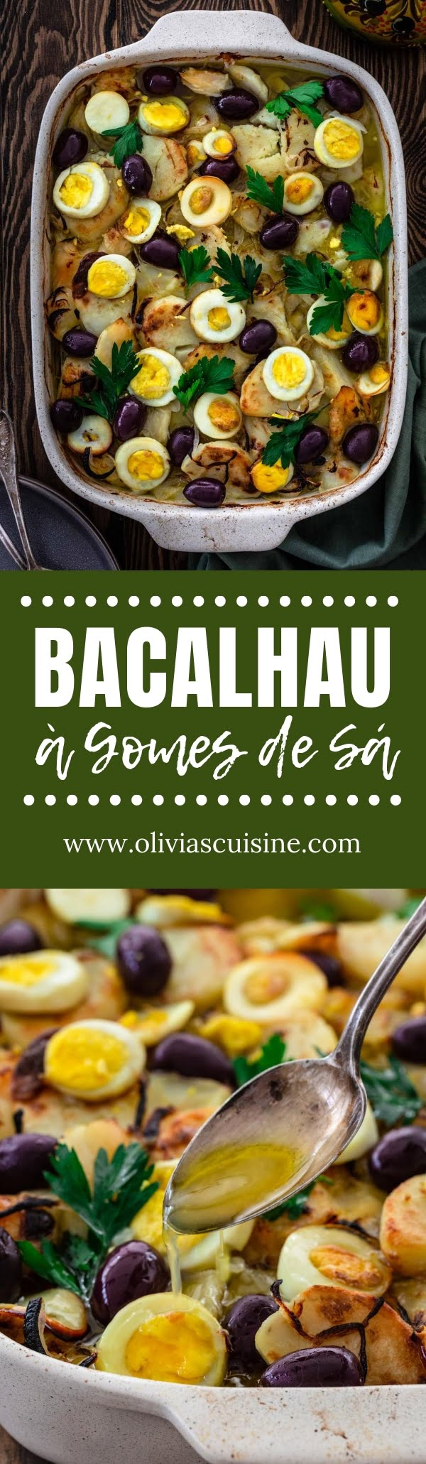 Bacalhau à Gomes de Sá | www.oliviascuisine.com | Bacalhau – a popular Portuguese dish made with salt cod, potatoes, onions, hard boiled eggs, olives and olive oil – is traditionally served on Good Friday, but easy enough to be enjoyed all year round! (Recipe and food photography by @oliviascuisine.) #codfish #bacalhau #bacalao #portuguese #brazilian