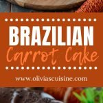 A collage of Brazilian carrot cake photos.