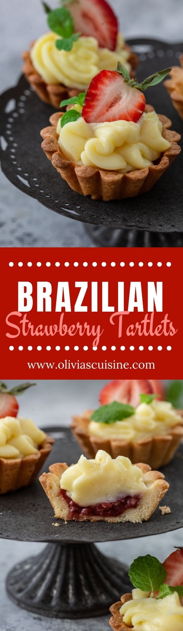 Brazilian Strawberry Tartlets | www.oliviascuisine.com | Tortinhas de Morango are a classic in every padaria. Not only they are delicious and undeniably cute, but they're also bite-sized, which makes them perfect for parties. (Recipe and food photography by @oliviascuisine.) #strawberry #strawberrydesserts #tartlets #tart #tarts #brazilian