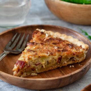 A slice of French Onion Tart