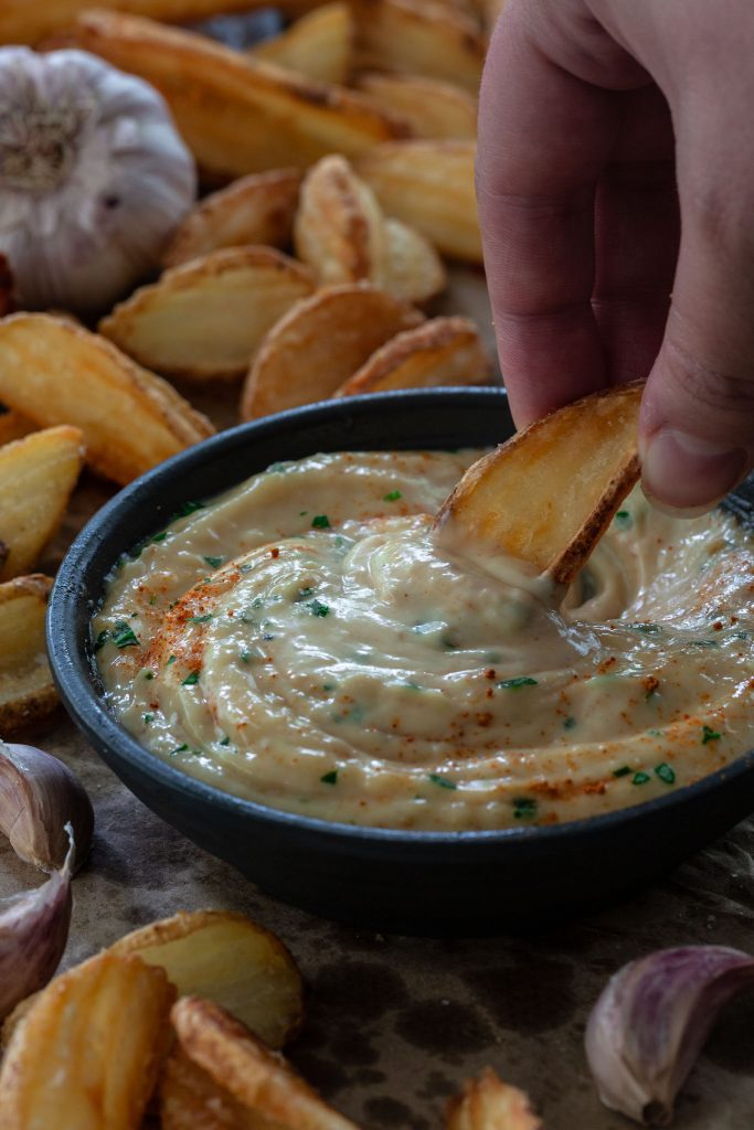 Roasted Garlic Aioli as a dip for fries