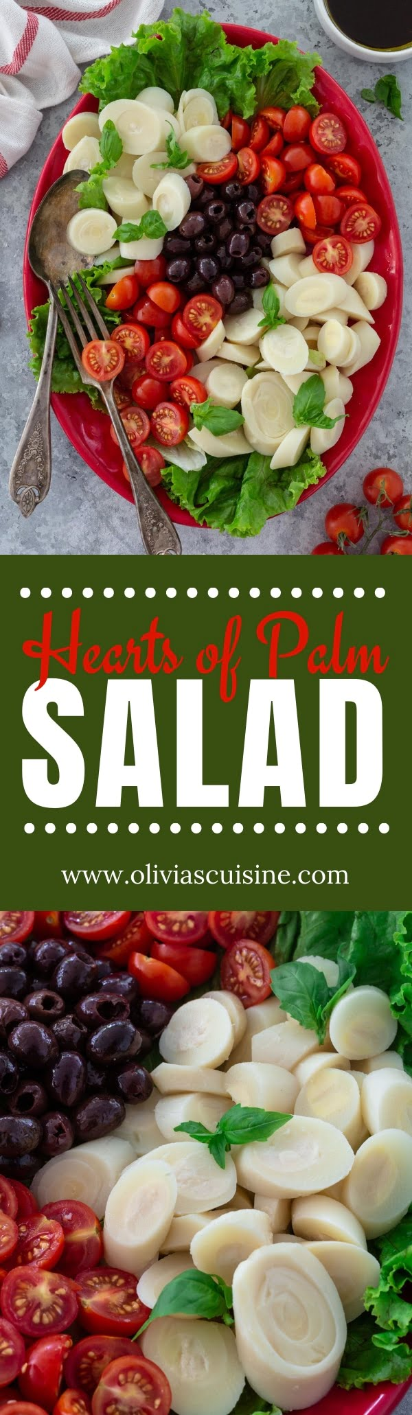 Hearts of Palm Salad with Cherry Tomatoes and Olives | www.oliviascuisine.com | This quick and simple Hearts of Palm Salad will be a hit at your summer table! Serve it as an appetizer, a side dish for grilled meat or as a light meal, topped with protein. (Recipe and food photography by @oliviascuisine.) #heartsofpalm #salad #brazilian #brazil #lowcarb