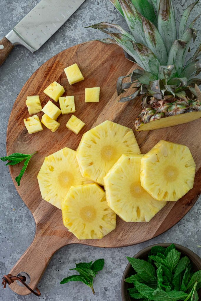 Sliced and chopped pineapple