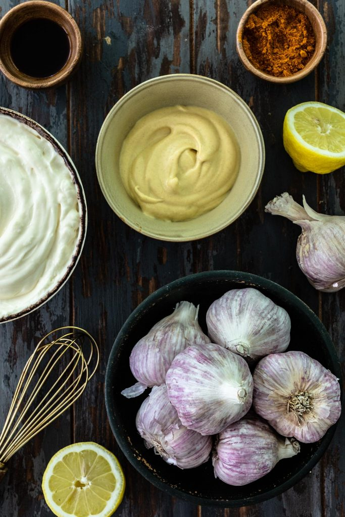 Ingredients for roasted garlic aioli