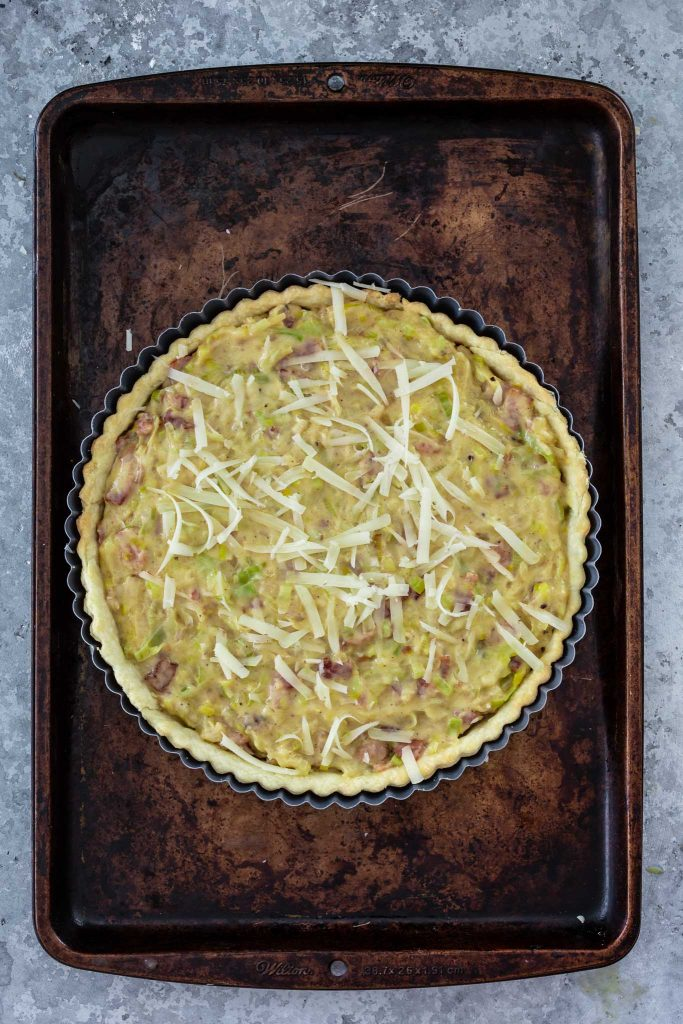 French Leek and Bacon Tart about to go in the oven.
