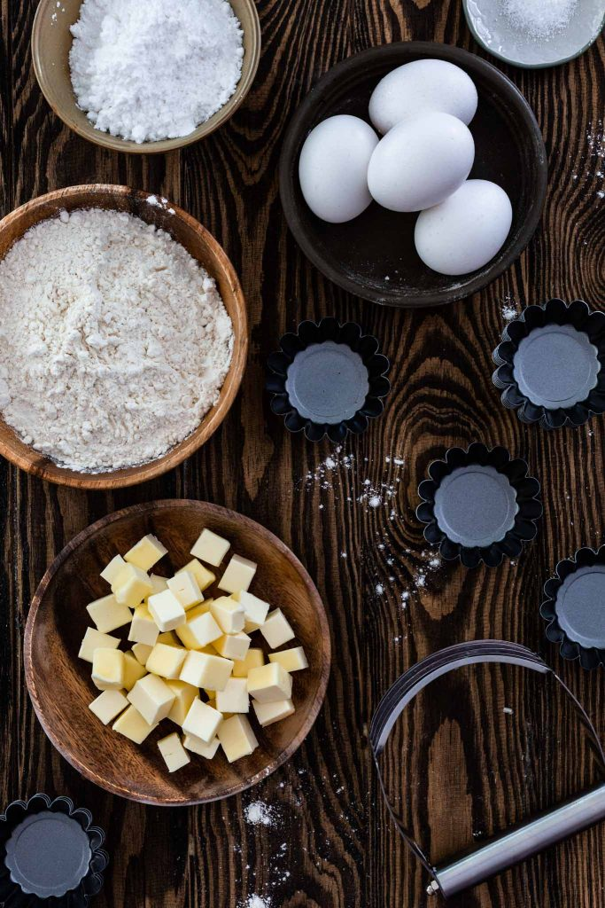Ingredients for French pastry crust.