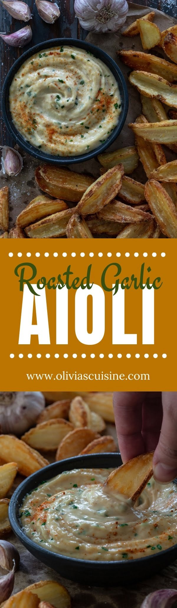Roasted Garlic Aioli   www.oliviascuisine.com   Hello, garlic lovers, this Roasted Garlic Aioli is for you! Creamy, garlicky and packed with umami flavor. Serve it on burgers, veggies or as a dip for fries! (Recipe and food photography by @oliviascuisine.) #roastedgarlic #garlic #dip
