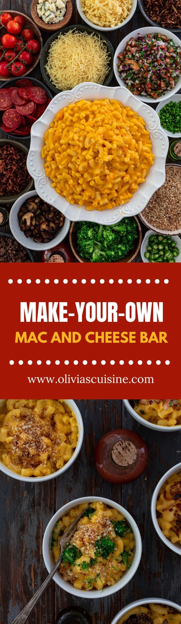 Make-Your-Own Mac and Cheese Bar | www.oliviascuisine.com | Let your guests have some fun by setting up a Mac and Cheese Bar at your next party! A big bowl of creamy Mac & Cheese and some delicious toppings and mix-ins are all you need for the ultimate cheesy celebration. (Recipes and food photography by @oliviascuisine.)