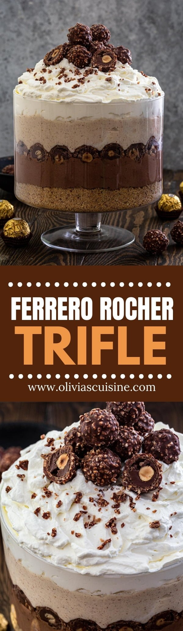 Ferrero Rocher Trifle | www.oliviascuisine.com | This Ferrero Rocher Trifle is a showstopper! Consisting of 6 layers of pure decadence, this trifle is beautiful, impressive and totally Instagrammable. (Recipe and food photography by @oliviascuisine.) #trifle #chocolate #desserts #ferrerorocher