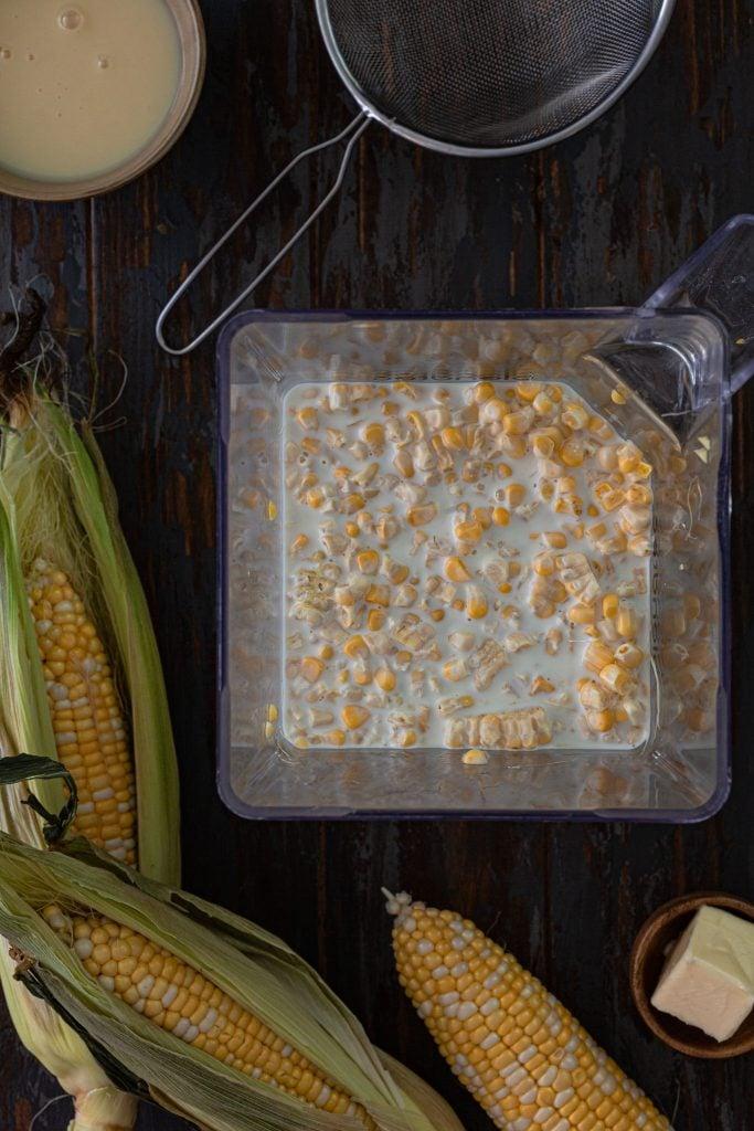Blending corn and milk
