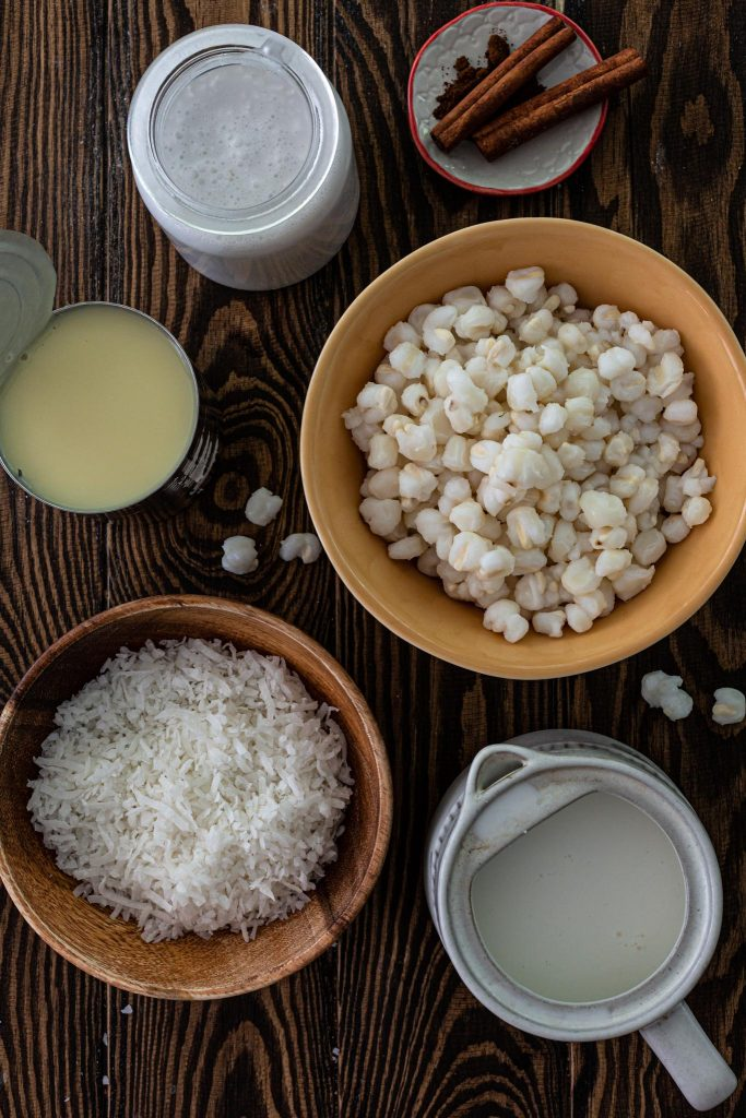 Ingredients to make Brazilian Hominy Pudding