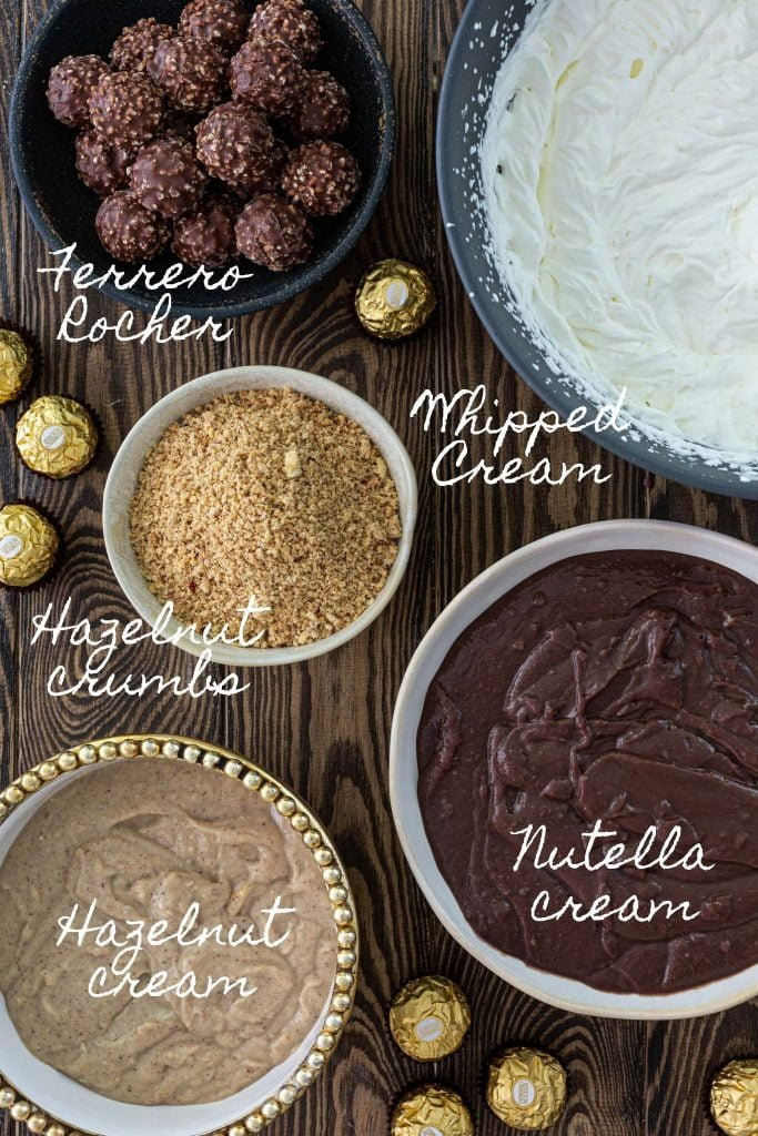 Ingredients for Ferrero Rocher Trifle