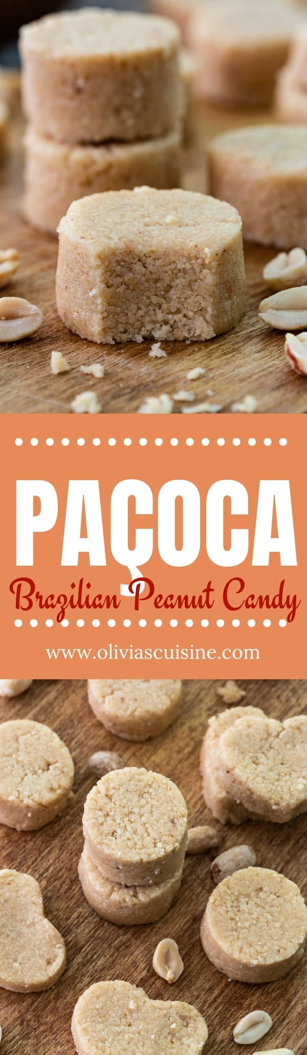 Paçoca (Brazilian Peanut Candy) | www.oliviascuisine.com | Extremely addictive, this 3-ingredient Paçoca is one of Brazil's most beloved treats. Very popular at the Festas Juninas, these candies are truly a peanut lovers dream! (Recipe and food photography by @oliviascuisine.)