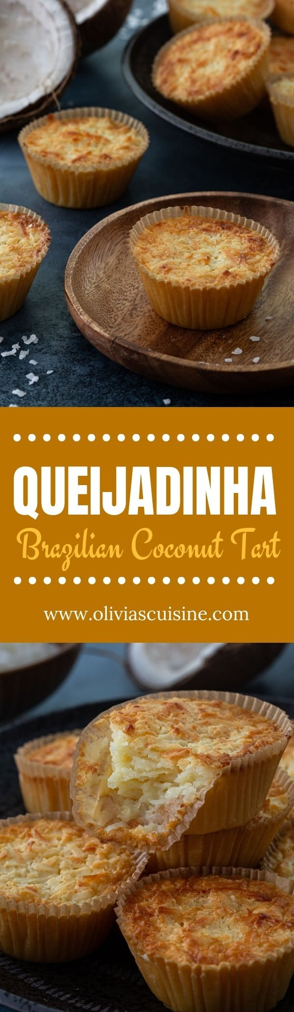 Queijadinhas (Brazilian Coconut Custard Tarts) | www.oliviascuisine.com | It is impossible not to fall in love with a Queijadinha. Decadent, creamy and loaded with coconut, it is a sweet tooth's dream come true! (Recipe and food photography by @oliviascuisine.)