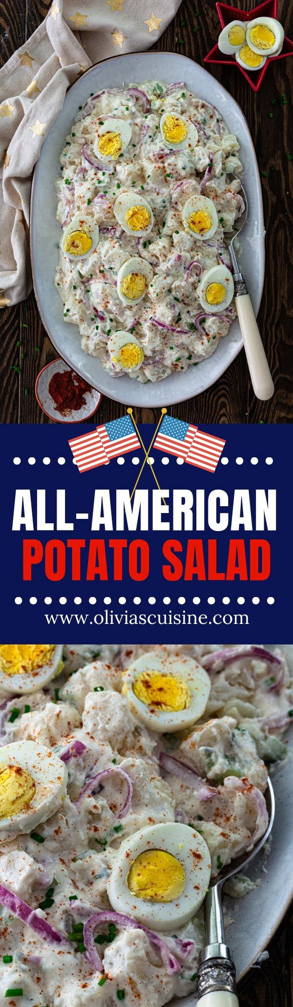 All-American Potato Salad | www.oliviascuisine.com | A summer celebration is not the same without a classic American Potato Salad! Creamy, tangy and easily customizable so you can make it your own. (Recipe and food photography by @oliviascuisine.) #potatosalad #BBQ #sides #picnic #american #potato
