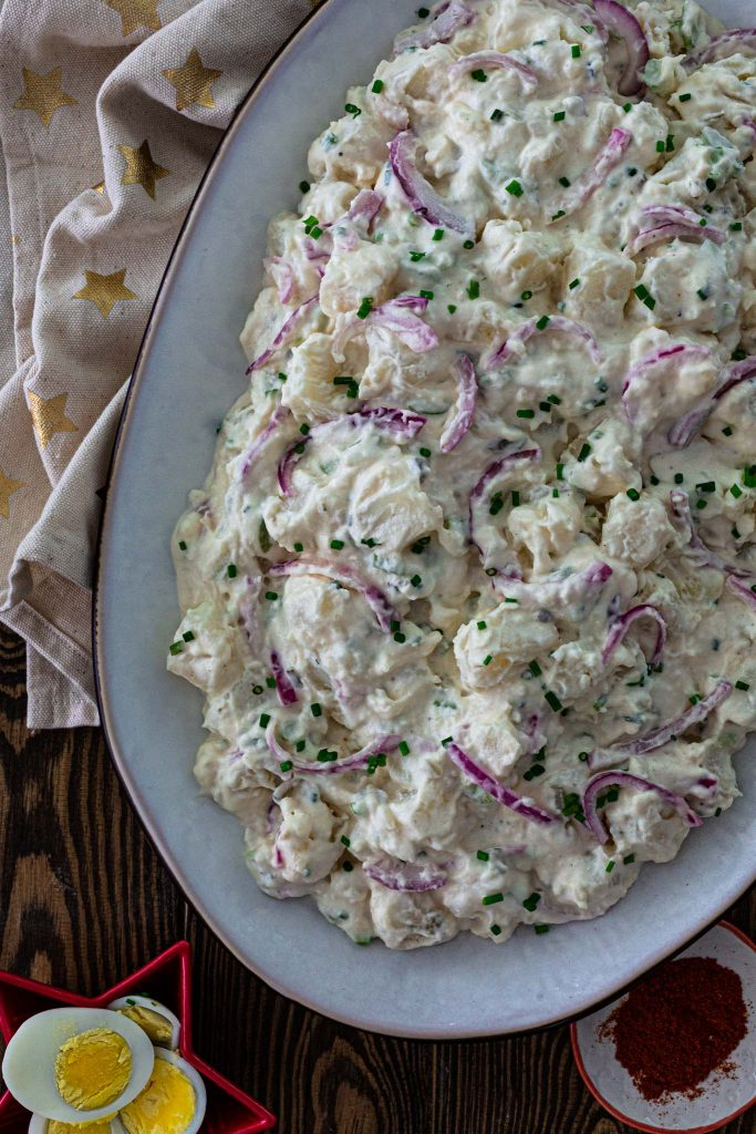 Potato salad with mayo dressing, without eggs