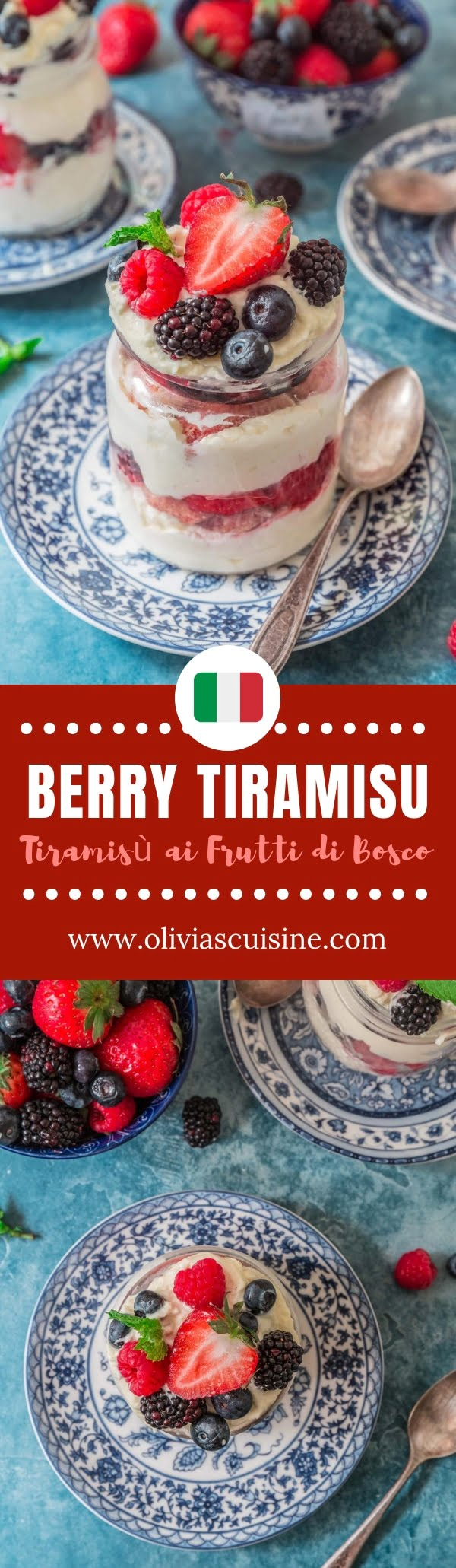 Berry Tiramisu | www.oliviascuisine.com | A summery twist on the classic tiramisù, this Berry Tiramisu (Tiramisù ai Frutti di Bosco) is fresh, beautiful and a great summer send-off. Spiked with Limoncello for a bright, citrus scent, but easily customizable to a non-alcoholic version. #berrytiramisu #tiramisu #italiandesserts #summerdesserts #mascarpone #berrydesserts