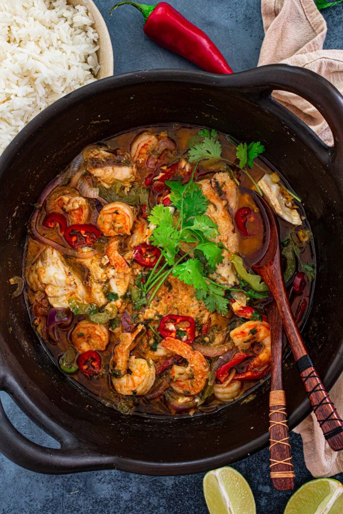 A clay pot with Brazilian Fish and Shrimp Stew