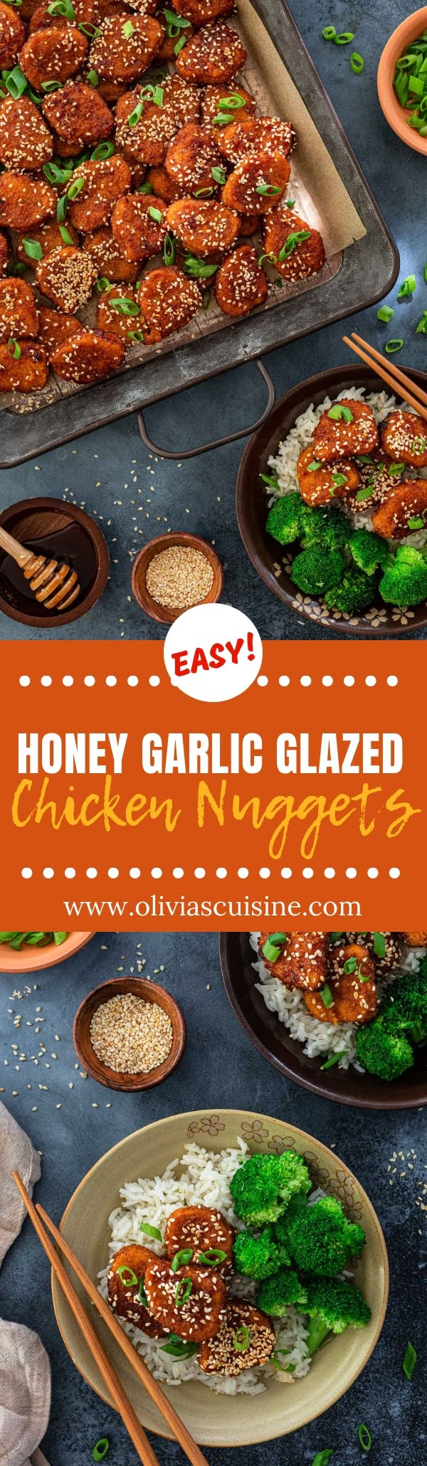 Honey Garlic Glazed Chicken Nuggets | www.oliviascuisine.com | A fun twist on a classic back-to-school dinner, these Honey Garlic Glazed Chicken Nuggets made with Tyson® Chicken Nuggets will get everybody rushing to the table! And the best part? They are ready in 15 minutes! #chicken #nuggets #backtoschool #recipes