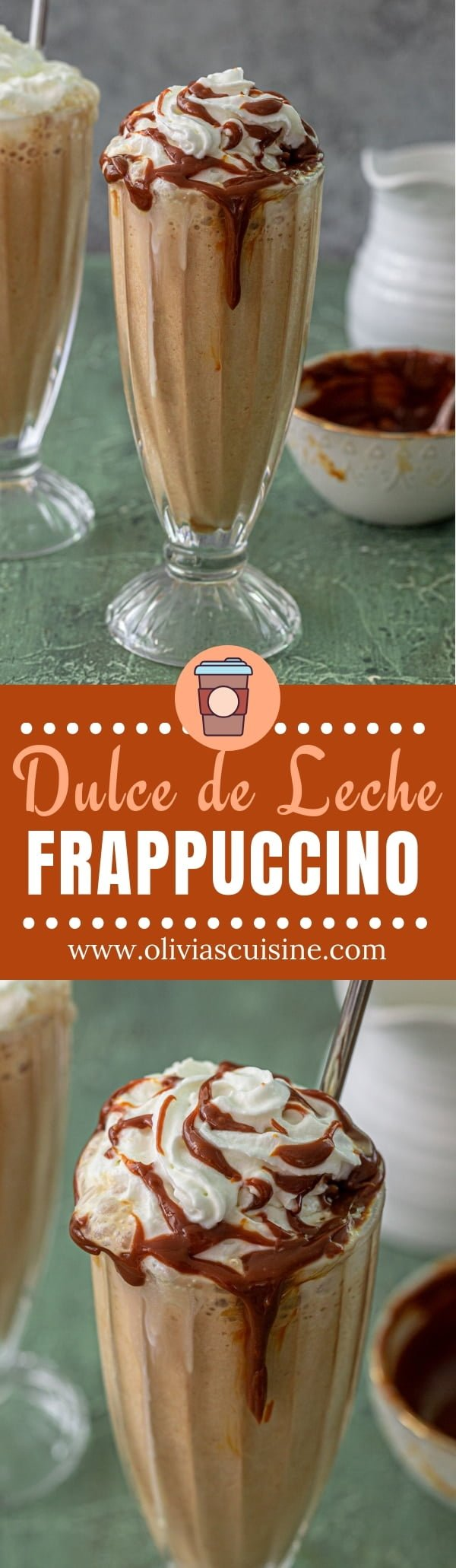 Dulce de Leche Frappuccino | www.oliviascuisine.com | This homemade Dulce de Leche Frappuccino is the best frappuccino you'll ever taste! Easy, creamy and oh so deliciously indulgent. Who needs a barista when you can make something this perfect at home? #frappuccino #dulcedeleche #caramel #coffee