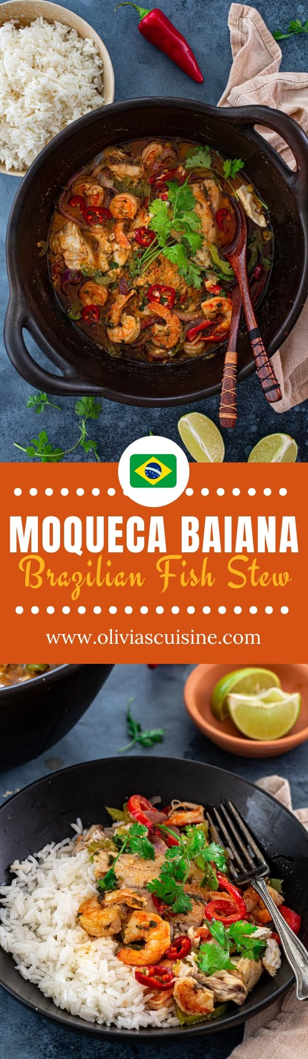 Moqueca Baiana (Brazilian Fish and Shrimp Stew) | www.oliviascuisine.com | If you're a fan of Brazilian cuisine, you simply must make Moqueca Baiana. Bold, flavorful and exotic, this fish and shrimp stew is one of Brazil's most famous dishes and is always a hit! #moqueca #brazilianfood #fishstew #seafoodstew #healthy