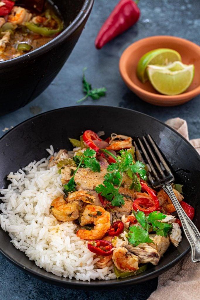 Moqueca Baiana served with rice.