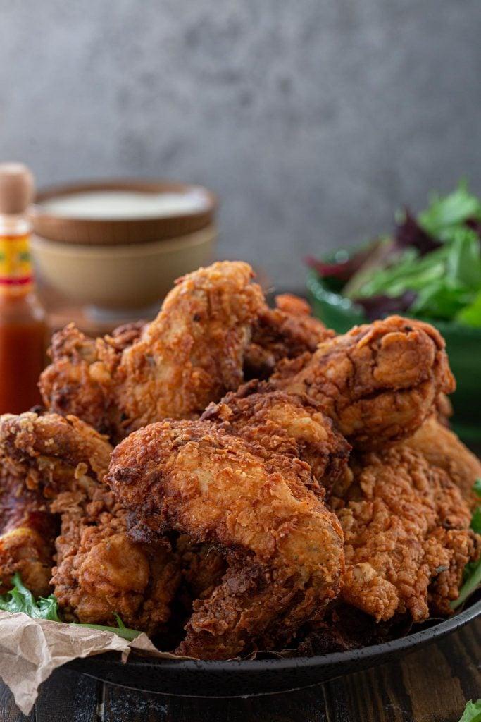 A plate of crispy fried chicken.