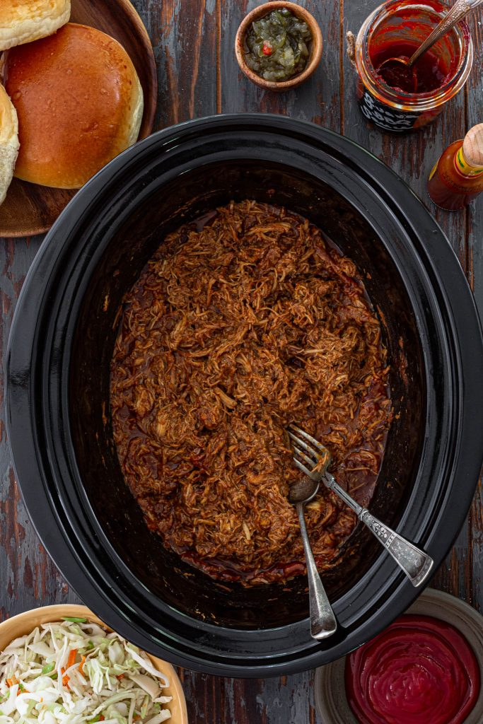 Guava BBQ Pulled Chicken in the slow cooker