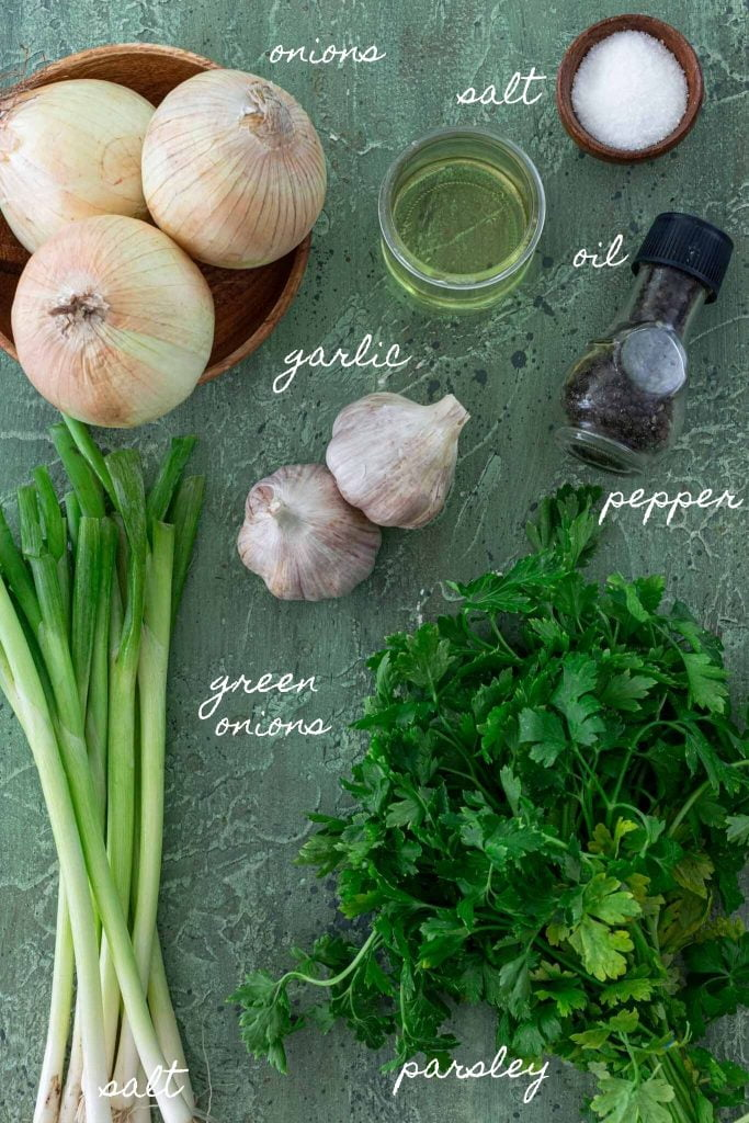 Ingredients to make sofrito.