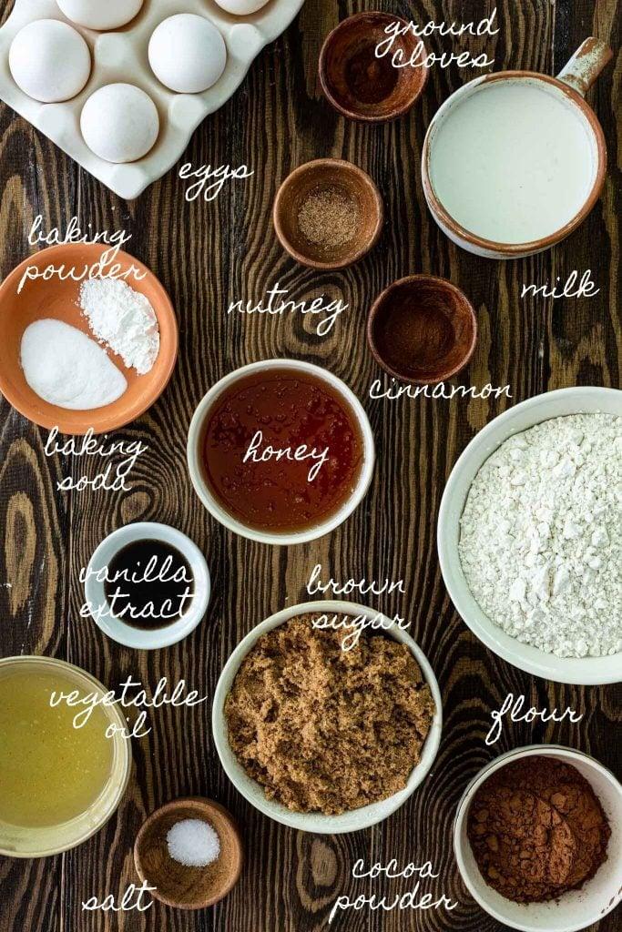 Ingredients needed to make Brazilian Honey Cakes.