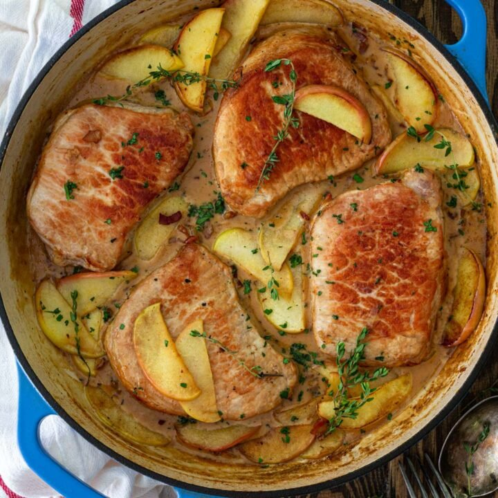 Pork Chops and Apples with Creamy Bacon Bourbon Sauce