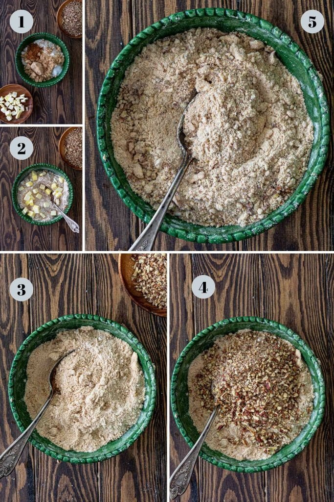 Steps to make pecan streusel.