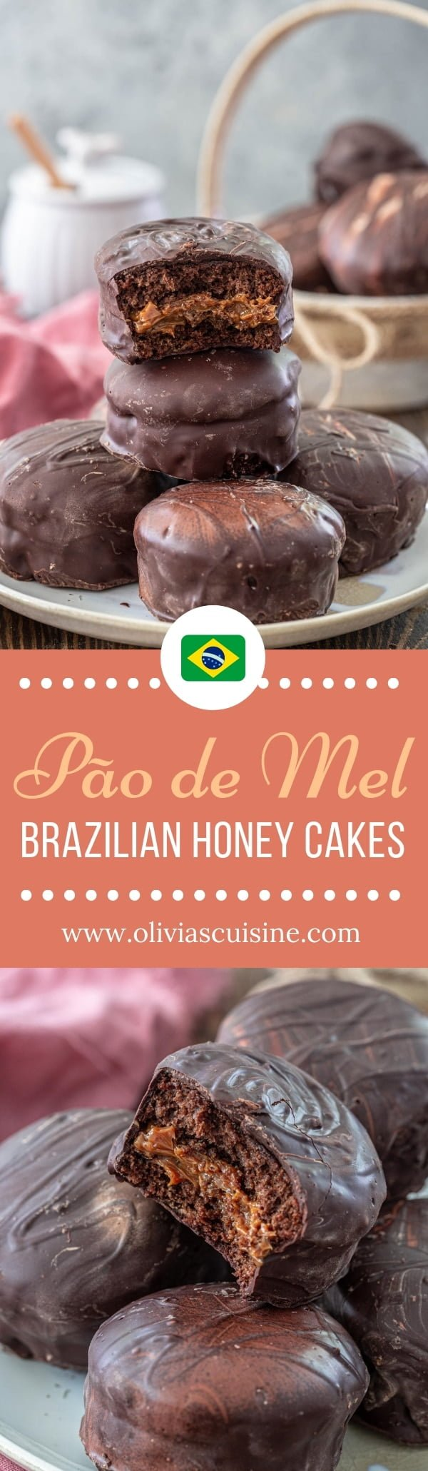 Brazilian Honey Cakes (Pão de Mel) | www.oliviascuisine.com | These out-of-this-world Brazilian Honey Cakes, aka Pão de Mel, are everything your sweet tooth could ask for. Spiced chocolate honey cakes, filled with dulce de leche and covered in chocolate! I can't think of anything better than that! #paodemel #brazilianfood #chocolate #dulcedeleche #cake #cakes #brazilian