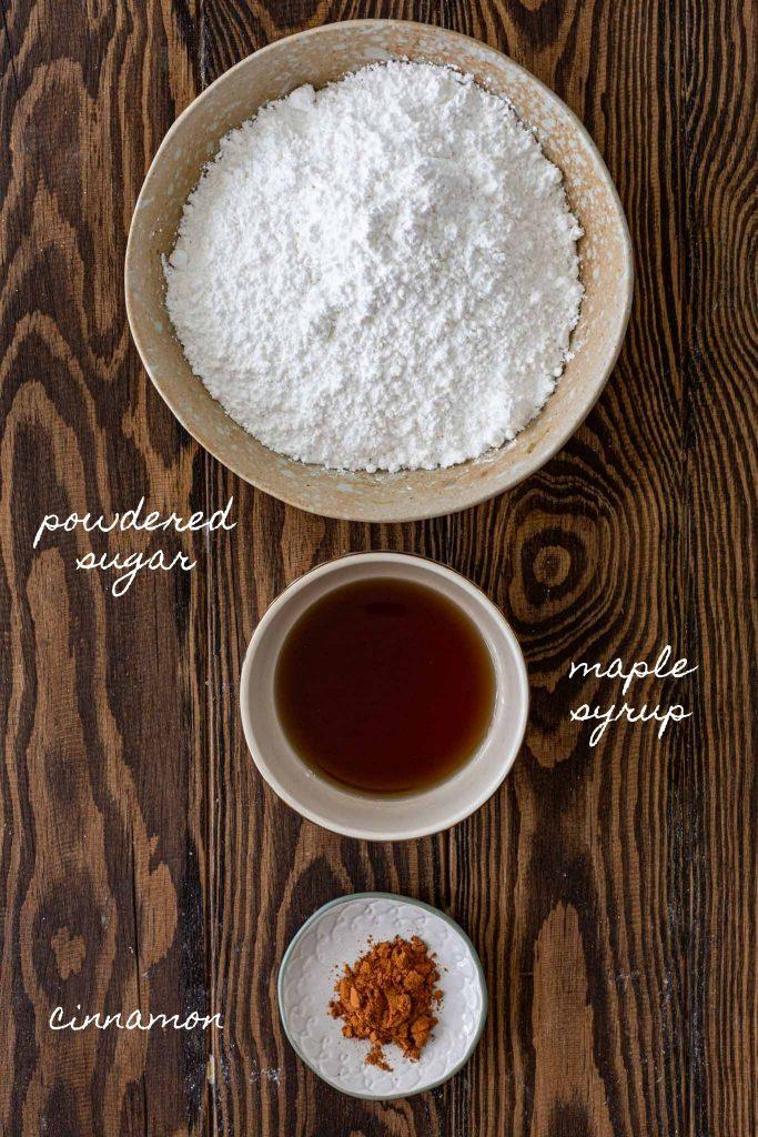 Ingredients to make maple glaze