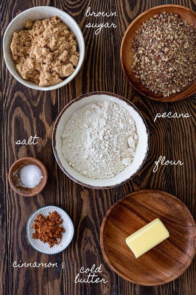 Ingredients to make pecan streusel