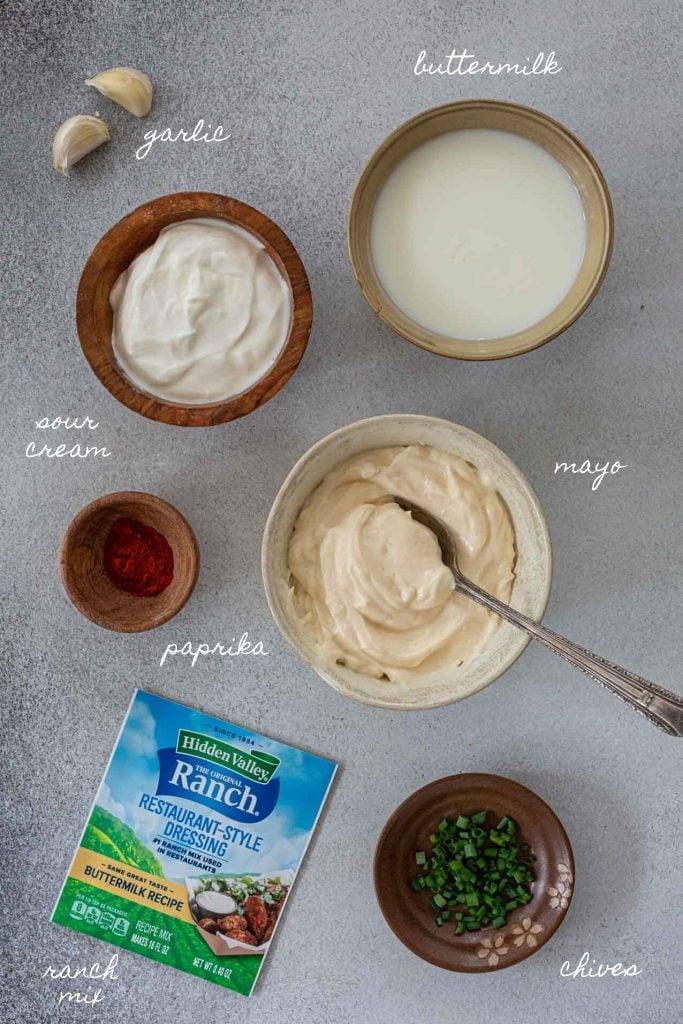 Ingredients to make ranch sauce
