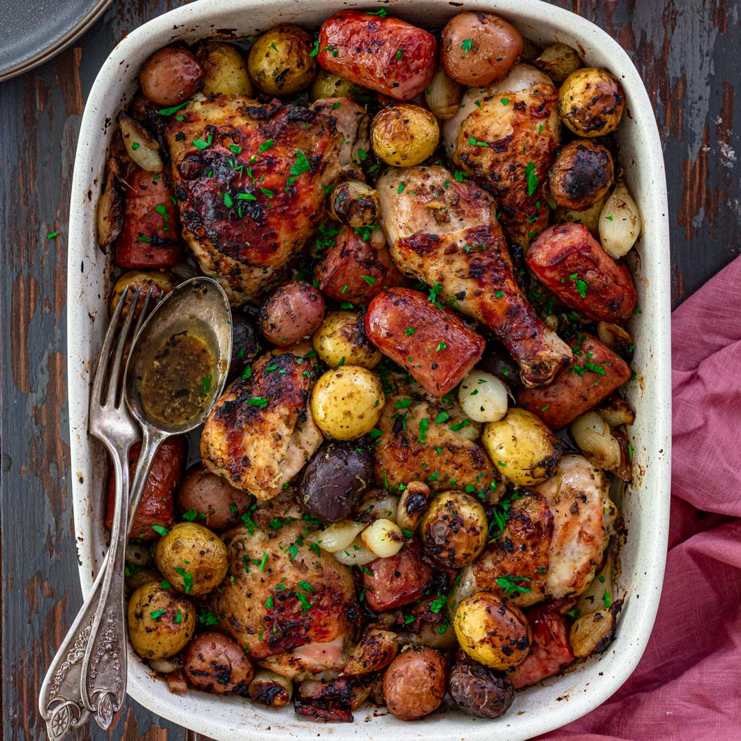 Oven Roasted Chicken, Sausage and Potatoes