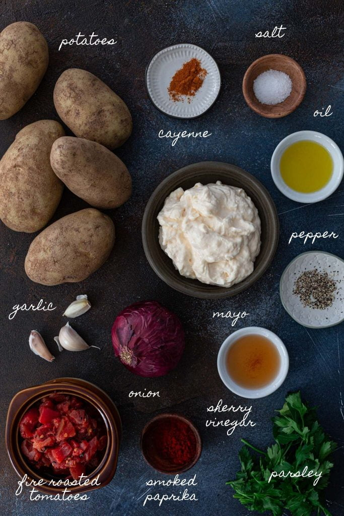 Ingredients to make patatas bravas.
