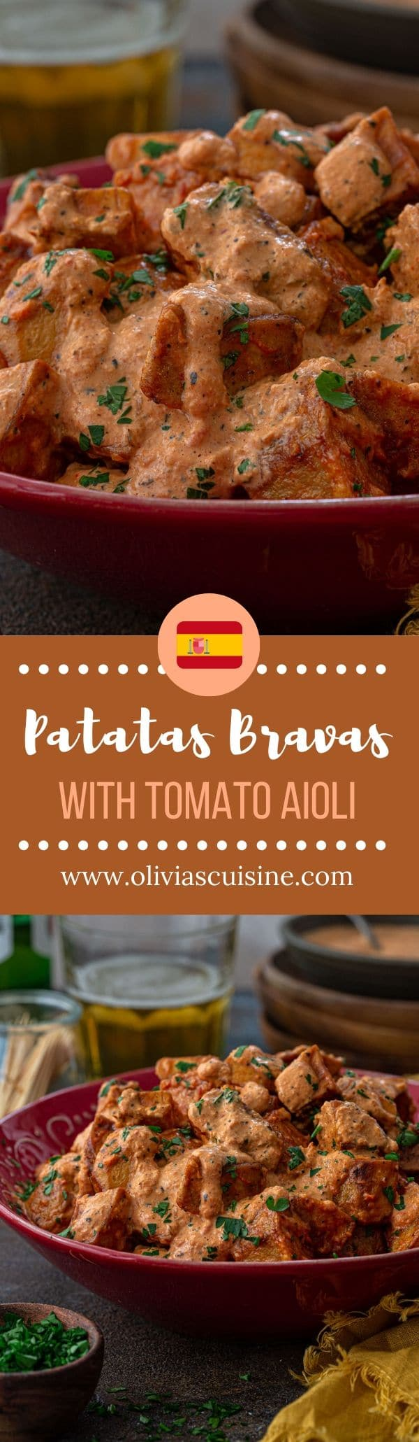Patatas Bravas | www.oliviascuisine.com | Spain's most popular tapas, Patatas Bravas are impossible to resist! Crispy home fries tossed with a mildly spicy tomato aioli. One bite and these will surely become one of your favorite potato dishes! (Recipe and food photography by @oliviascuisine.) #patatasbravas #spanish #potatoes #appetizers #tapas #papasbravas