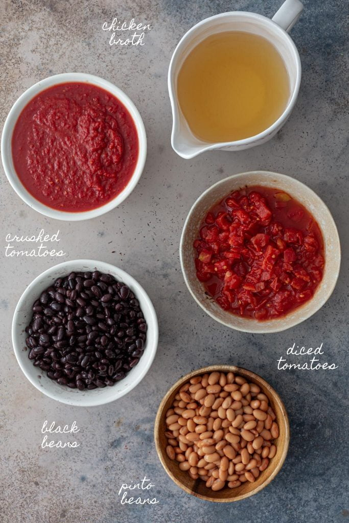 Canned ingredients: tomatoes, broth and beans.