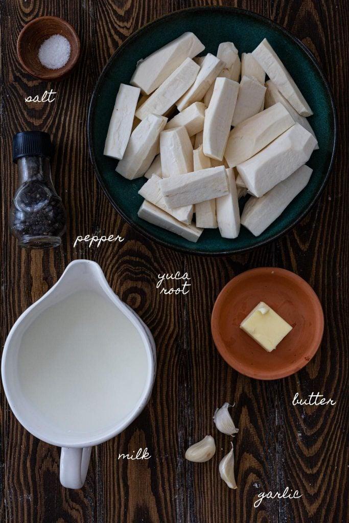 Ingredients to make Yuca Mash.