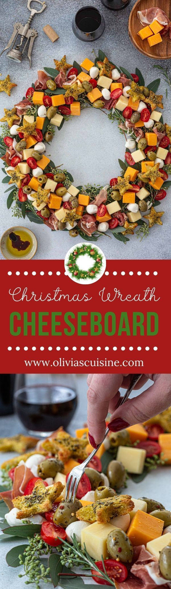 Christmas Wreath Cheeseboard | www.oliviascuisine.com | A simple but festive Christmas Wreath Cheeseboard is all you need to get the party started! It is easy to recreate and will have your guests oohing and aahing at first sight. (Follow @oliviascuisine for more delicious recipes.) #cheeseboard #cheese #cheeseplate #cheeseplatter #appetizers #christmas