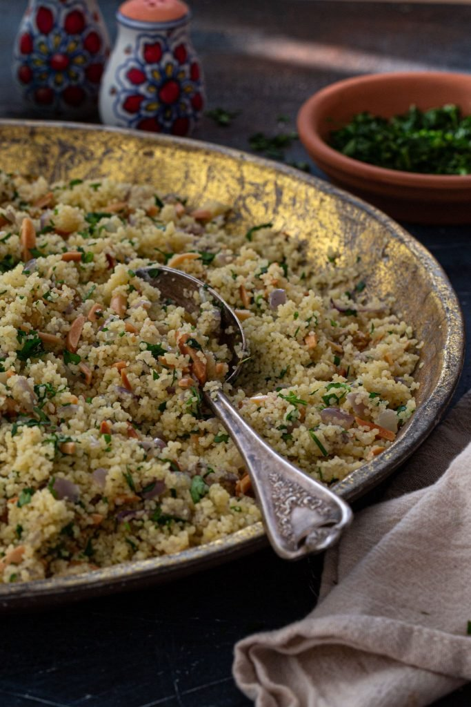 An easy side dish, with almonds and raisins.