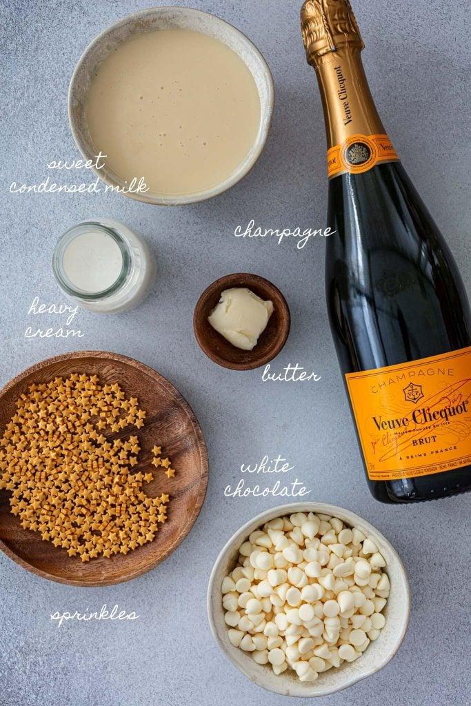 Ingredients to make champagne brigadeiro.
