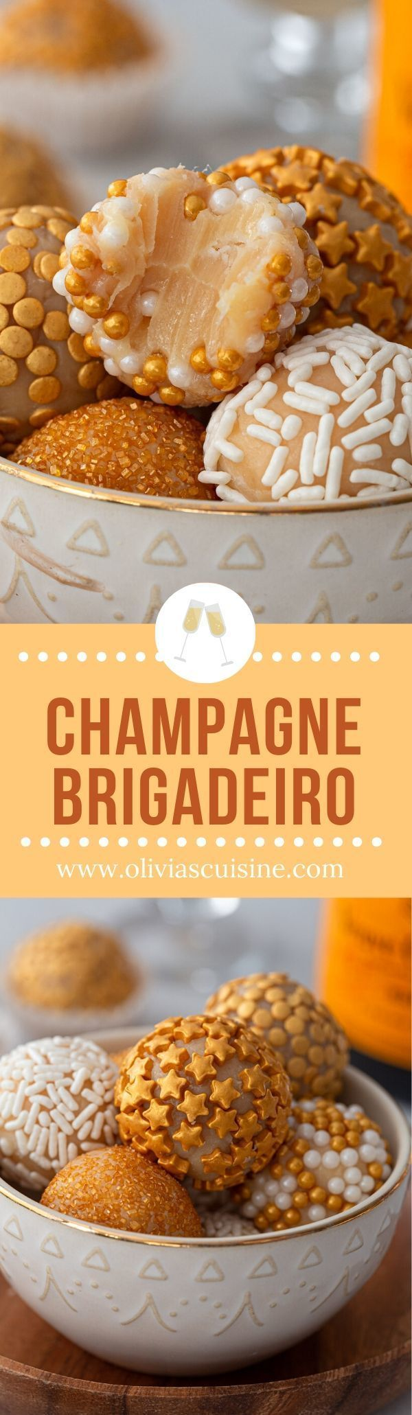 Champagne Brigadeiro | www.oliviascuisine.com | If you love classic brigadeiro, you won't be able to resist this champagne version. A sparkly and delicious treat to celebrate New Year's Eve in style! (Follow @oliviascuisine for more delicious recipes.) #brigadeiro #brigadeiros #brazilianfood #truffles #champagne