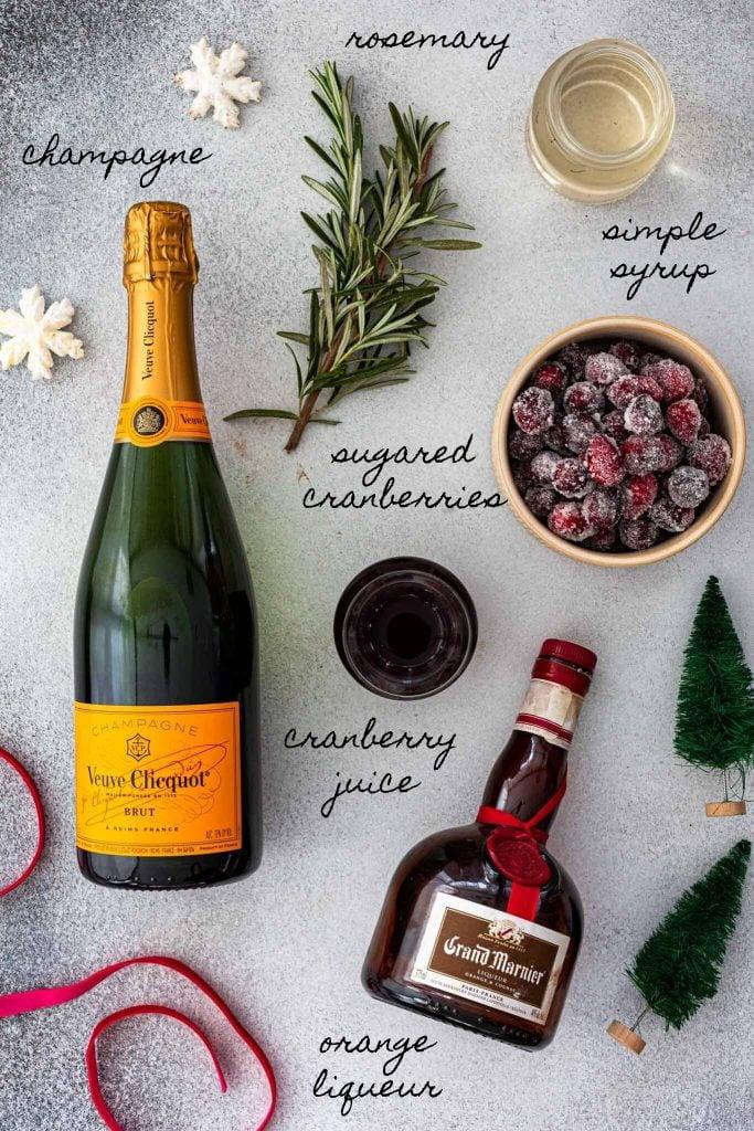 Ingredients to make Christmas Mimosa.