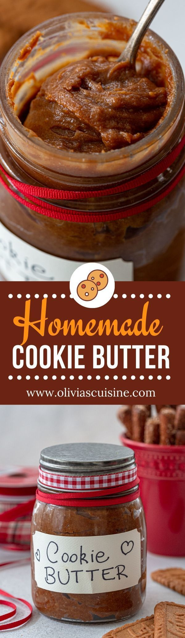 Homemade Cookie Butter Recipe | www.oliviascuisine.com | If you're as obsessed as I am with the store bought version, this cookie butter recipe is for you. Thick and creamy, you won't be able to stop eating it by the spoonful! (Follow @oliviascuisine for more delicious recipes.) #cookiebutter #cookiespread #cookies #speculoos #biscoff