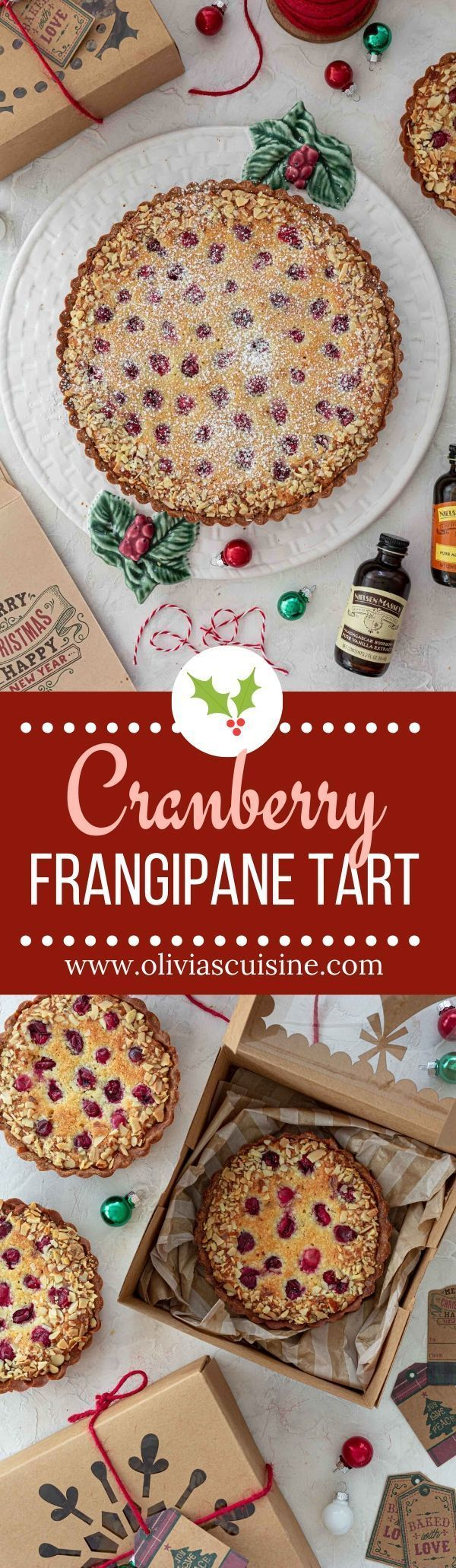 Cranberry Frangipane Tart | www.oliviascuisine.com | This beautiful and festive Cranberry Frangipane Tart will bring holiday joy to your celebrations! Sweet, tangy and absolutely irresistible. Bake an extra batch to gift to your loved ones! #tart #frangipane #cranberries #cranberrysauce #desserts #frenchdesserts