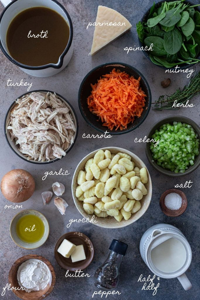 Ingredients to make leftover turkey soup with gnocchi.