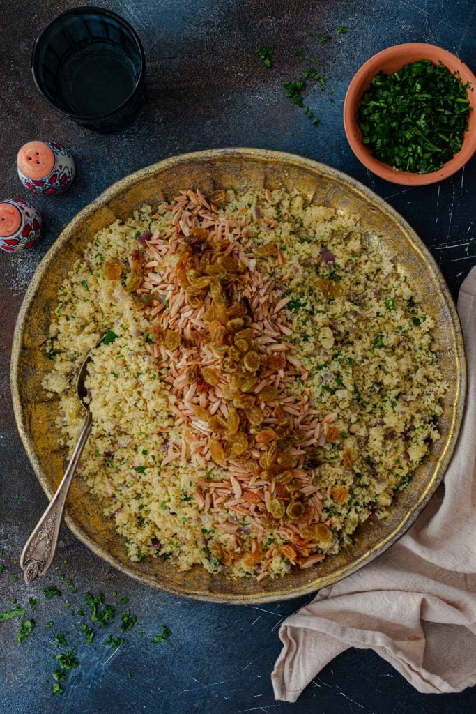 A platter of Moroccan Couscous Pilaf.